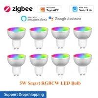 Ampoule LED GU10 5W RGBCW 3 0 Zigbee  pour Tuya Smart life 85-265V telecommande commande vocale  fonctionne avec Alexa Google Home  1-8 pieces