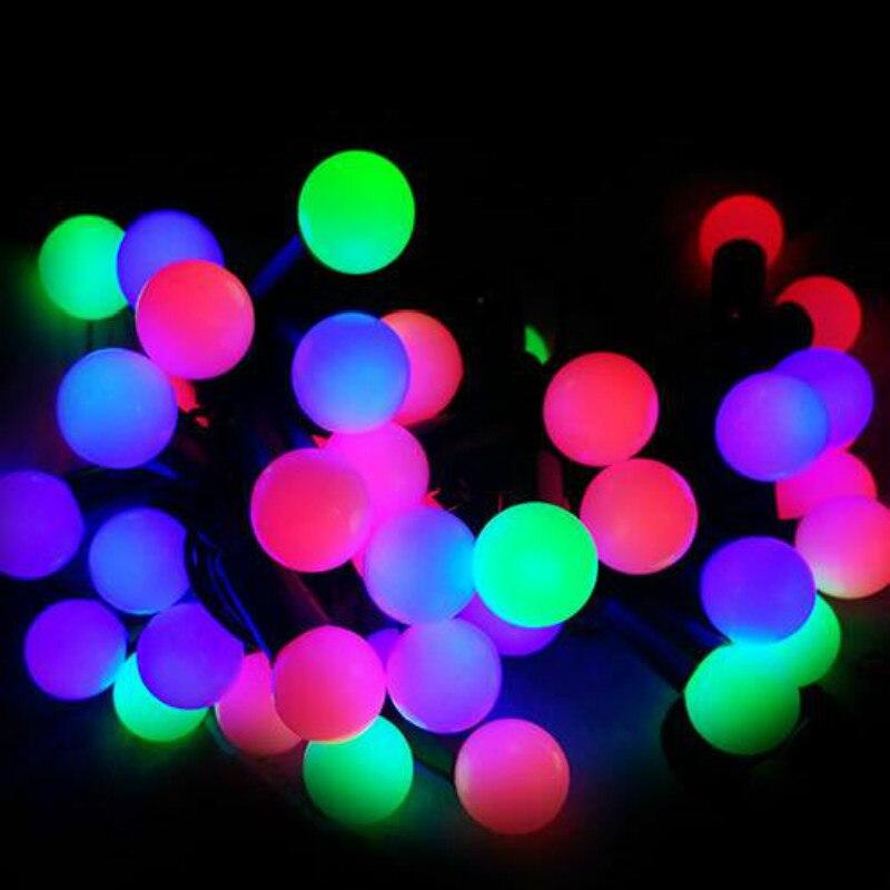 5/10M 50/100Led Cadena de luces de alambre negro impermeable globo bola hadas luces Navidad boda fiesta al aire libre guirnalda Decoración