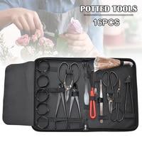 16Pcs garden bonsai trimming kit carbon steel kit scissors and versatile nylon toolbox JA55