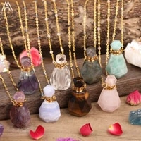 faceted natural roses amethysts quartz chalcedony amazonite stone perfume bottle essential oil duffuser pendant necklace jewelry