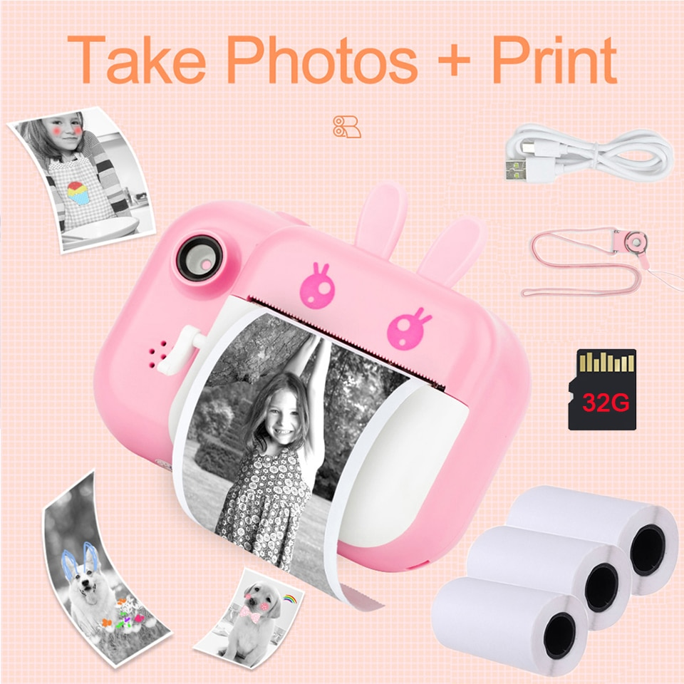 Seelaugh 32GB TF Card Camera Printer With Thermal Photo Paper Camera For Gifts Instant Print Camera Photo Printer For Kids 1080P