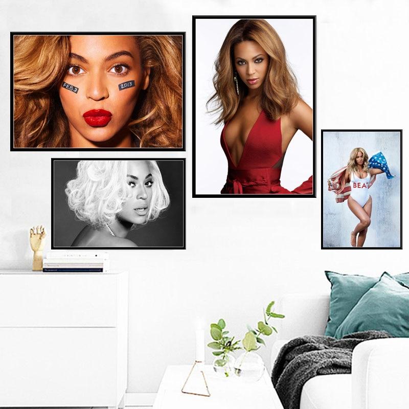 Beyonce Super estrella cantante de música Pop arte lienzo pintura cartel pared decoración para el hogar