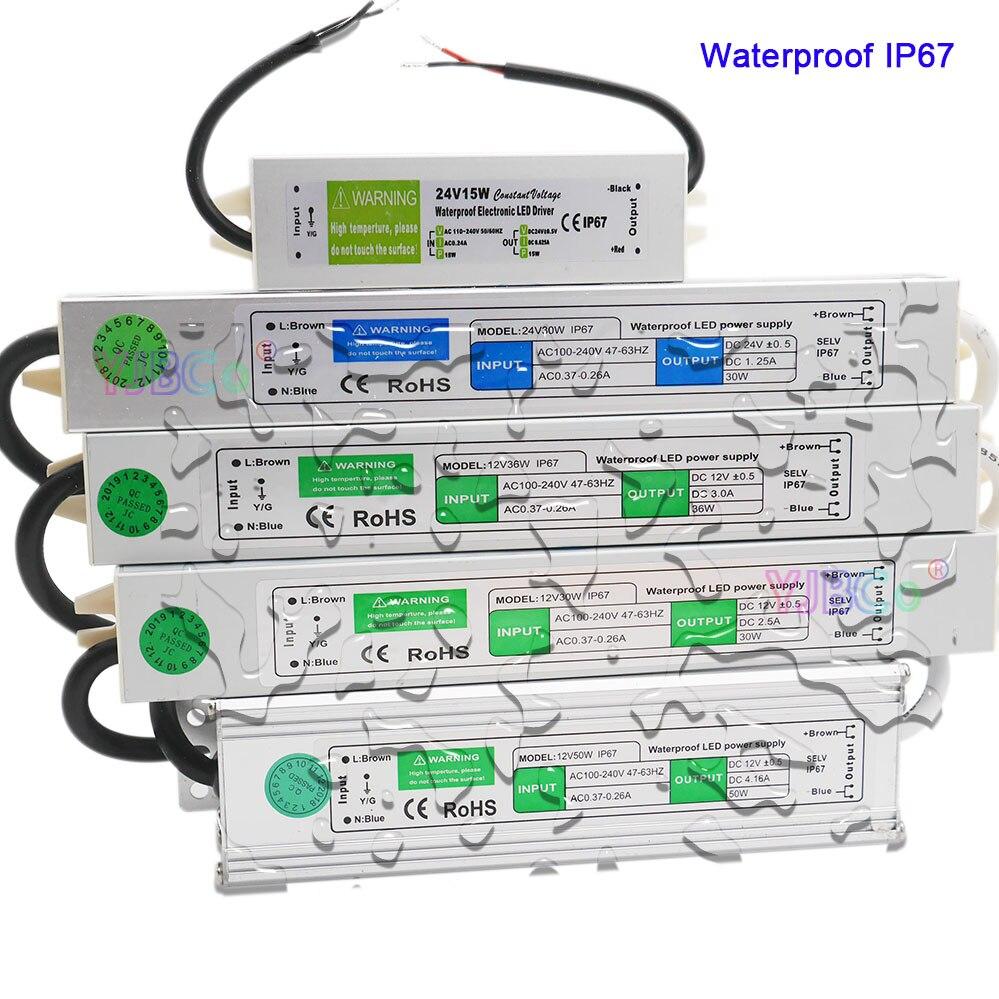 Ip67 à prova dip67 água led driver dc 12 v/24 v 10 w 15 20 25 30 36 45 50 60 80 100 120 150 fonte de alimentação led luz transformadores