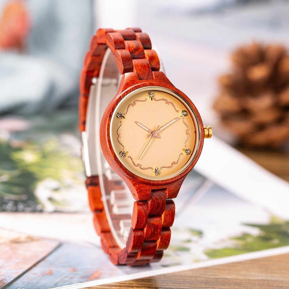Mulheres da Moda Pulseira de Madeira Decoração de Madeira Jóias com Diamantes Relógios Montre Femme Mulheres Relógio Feminino
