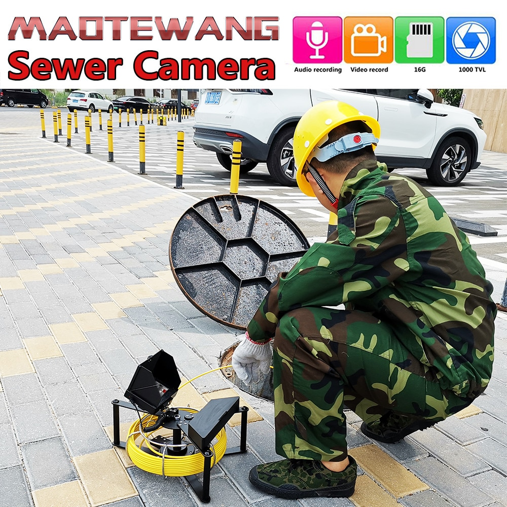 MAOTEWANG Sewer Pipe Inspection Camera with 16GB DVR Sewer Drain Industrial Endoscope IP68 4.3inch IPS 17MM Camera 30M