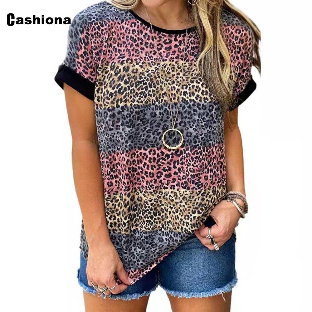 leopard print lace trim plus size tee Cashiona Plus Size 5xl Women T-shirt Casual Leisure Top Streetwear Leopard Print Tshirt Fashion 2021 Summer Tee Shirt Pullovers