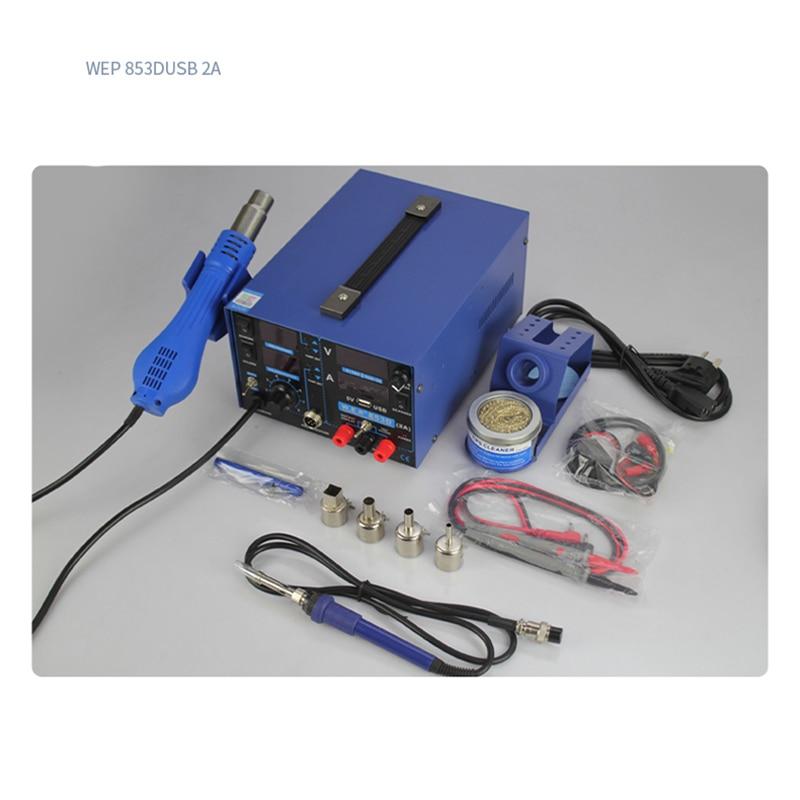 Soldering/rework station heat gun 3 in 1 hot air gun Welding table DC Power 0-5A USB interface WEP-853D Updated version enlarge