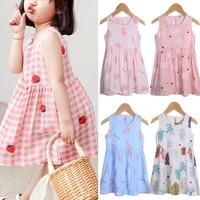 multiple colour summer girls sleeveless printed children round neck cartoon dress