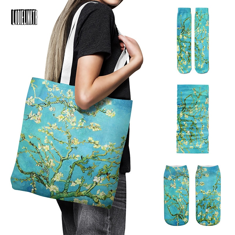 Van Gogh Oil Painting Series Canvas Bag Set Iris Flower Ladies Socks Starry Night Sunflower Headscarf High Quality Set For Gift