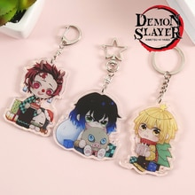Anime démon tueur porte-clés femmes Tanjirou Kamado Nezuko Tomioka Giyuu Kimetsu No Yaiba acrylique porte-clés accessoires de dessin animé mignon