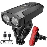 bike light waterproof usb rechargeable led 5200mah aluminum mtb front lamp headlight power bank mountain bicycle light