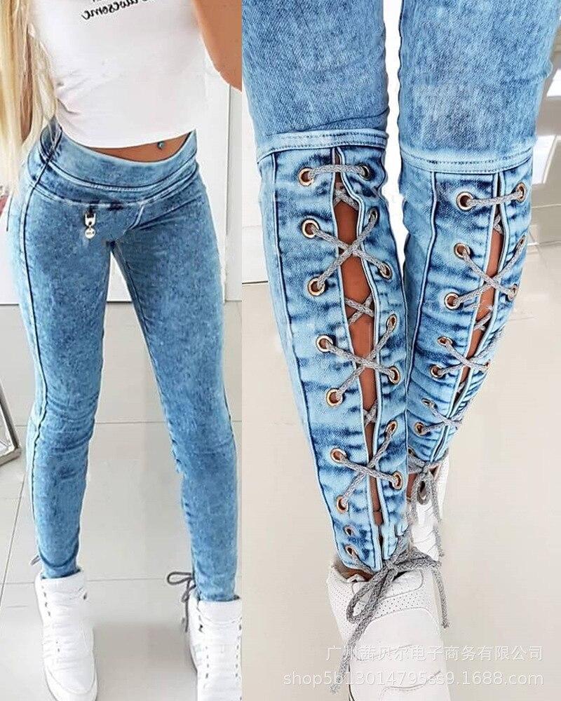 Джинсы на ремешке женская одежда Новинка Осень 2021 женская одежда набедренные джинсы на ремешке Повседневная джинсовая женская одежда