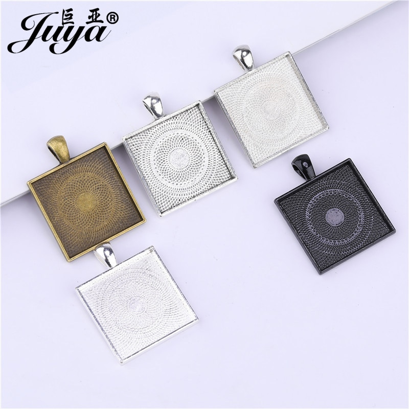 50PCS 25mm Alloy Square Pendant Cabochon Base Setting Charms For Make Necklaces keychains DIY Jewelry Components Crafts Findings