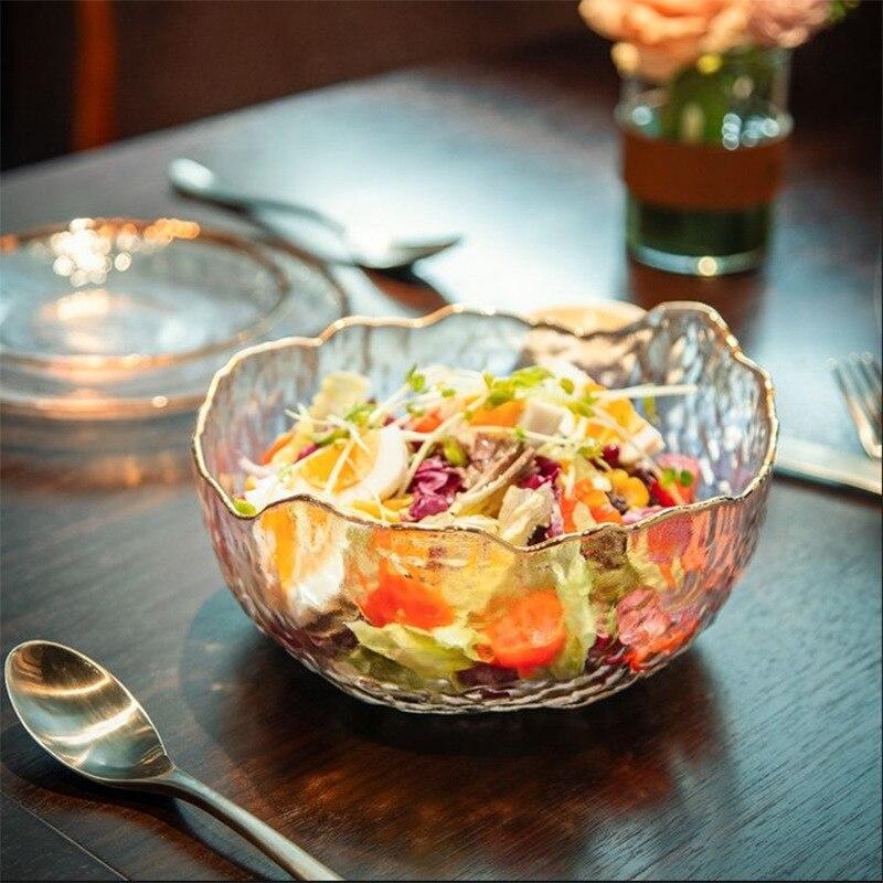 Fruta Tigelas de Arroz de Ouro Irregular Borda Inlay Saladeira De Vidro Recipiente De Armazenamento De Alimentos Almoço Bento Caixa de Decoração de Mesa