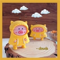 3d super cute cartoon raincoat pig bluetooth headset soft case for apple airpods 1 2 pro silicone wireless charging cover