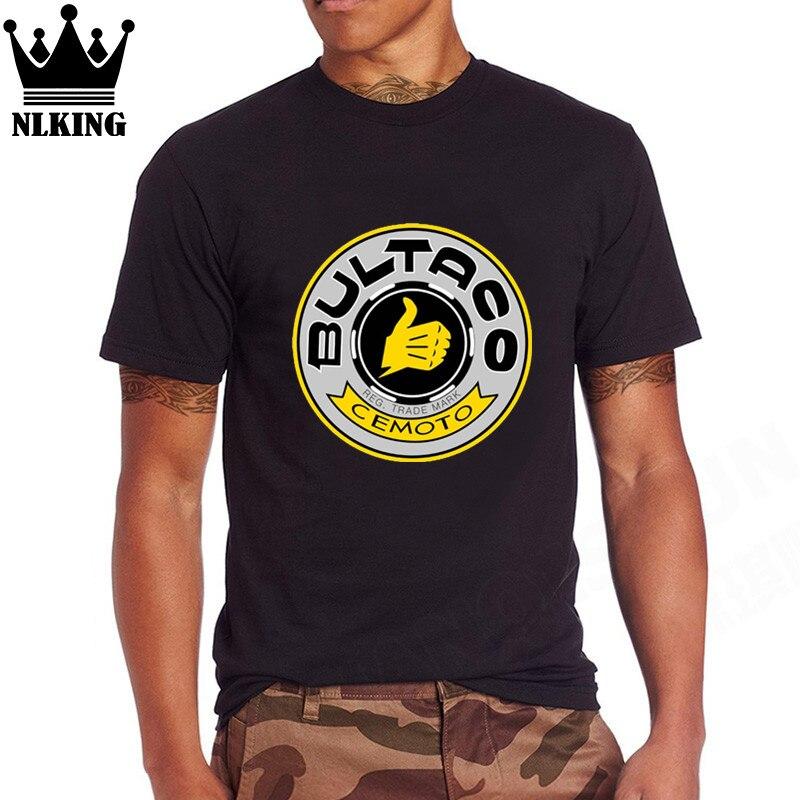 Divertidas camisetas grises Bultaco Pursang hombres ciclismo carreras España leyendas motocicleta logo de manga corta de algodón camisetas Tops pulgar camisetas