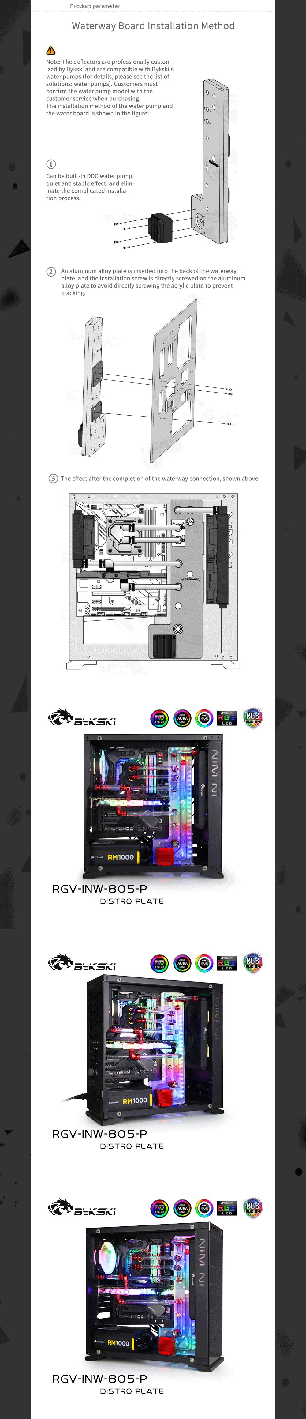 Bykski Waterway Cooling Kit For IN WIN 805 Case, 5V ARGB, For Single GPU Building, RGV-INW-805-P