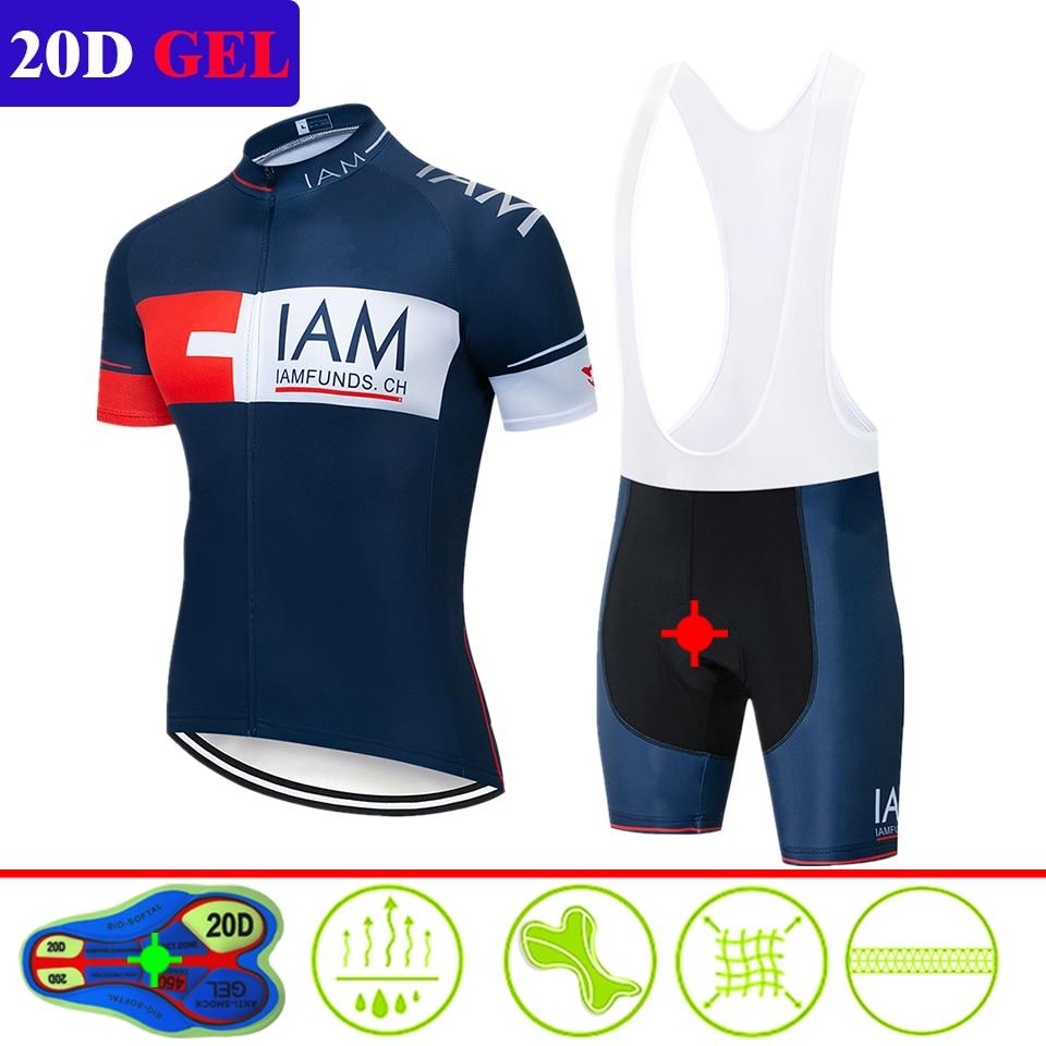2020 IAM Summer Men Cycling Jersey Short Sleeve Set Breathable Bib Gel Pad Shorts Bicycle Clothing Maillot Ropa Ciclismo