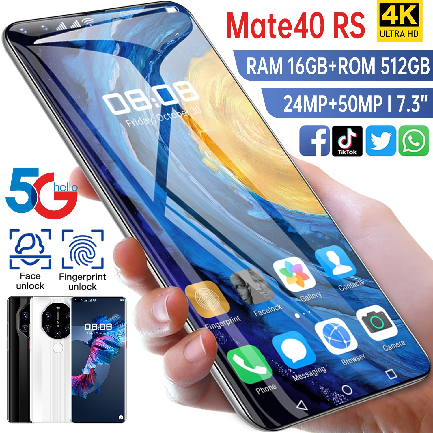 2021 New Smartpone Mate40 RS Global Version Smartphonr 16G 512G Android10 Unlocked 6800mAh Snapdrago