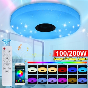 100W/200W Modern LED Ceiling Light Dimmable RGB bluetooth Music Light for Living Room APP Control Remote Control Ceiling Lamp