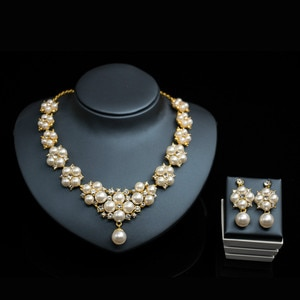 African Exaggerated Necklace Charm Women Birthday Party Pearl Earrings Fashion Jewelry Sets Dubai Bridal Wedding Jewelry