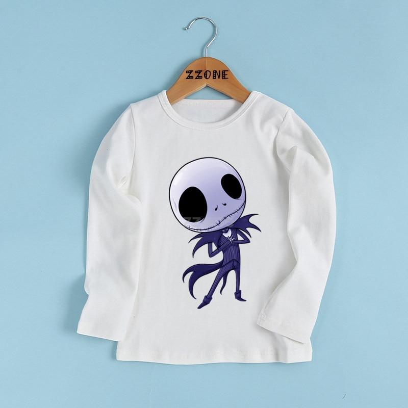 Niños/niñas Halloween Town calabaza rey Jack Skellington imprimir camiseta niño ropa de dibujos animados divertida bebé Camiseta de manga larga, LKP5234