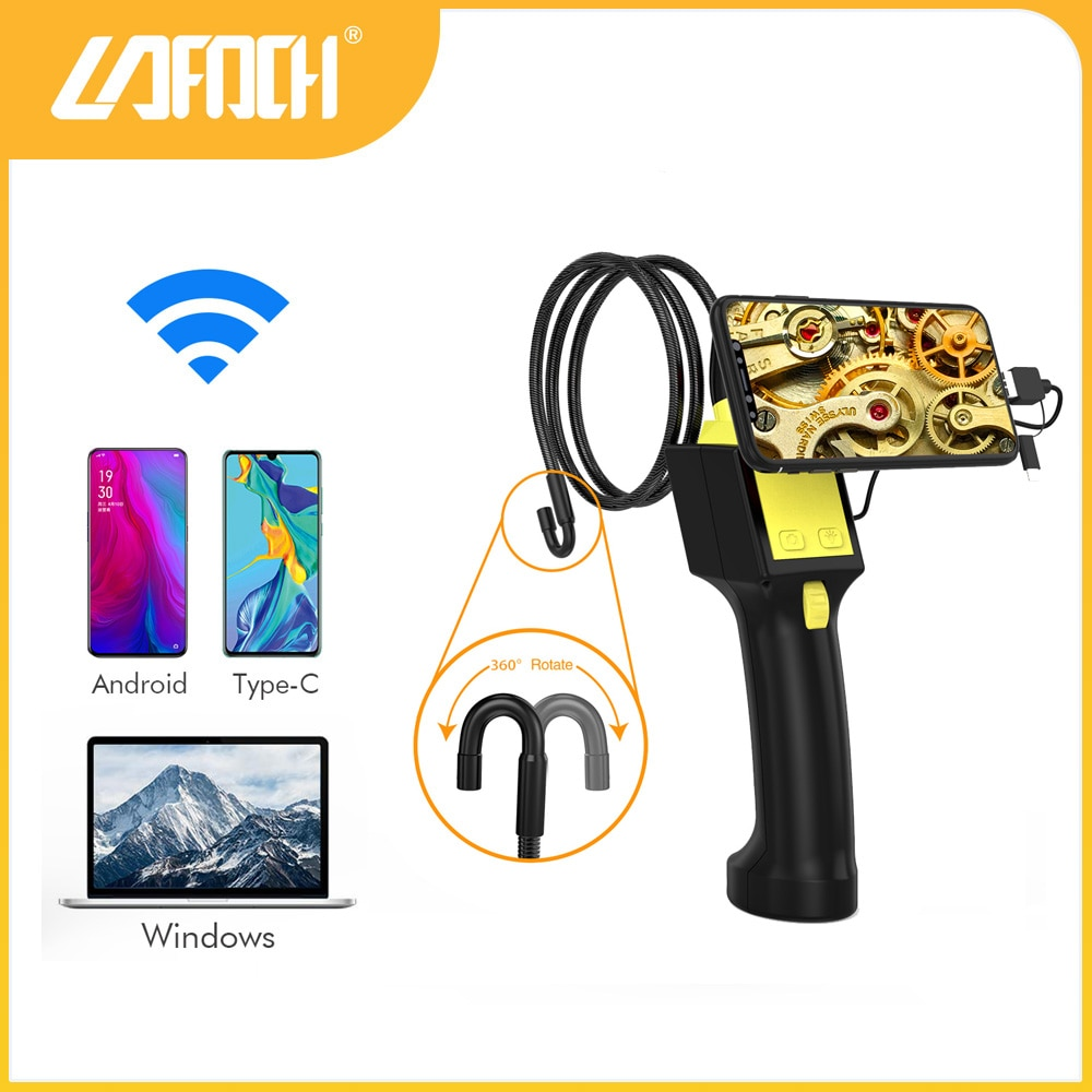 360 Degree Rotation Endoscope IP67 Waterpoorf 2m cable industrial mechanical inspection Borescope Camera,for Type-c,PC,Andorid