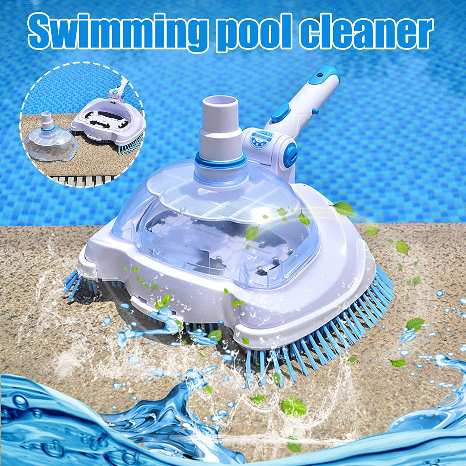 Pool Leaf Vacuum Head Transparent Leaf Sucker Cleaner For Inground/Above Ground Swimming Pools Pond Waterfall SPA