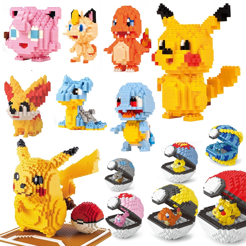 Dibujos Animados Kawaii Poke Anime Ball set Pikachued diamante mini micro bloques de construcción ladrillos juguetes juego