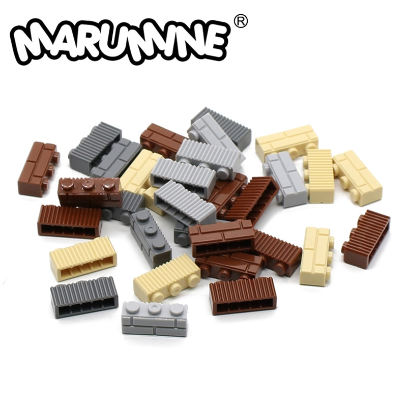 Marumine 1x3 pontos tijolos cubo de parede 100 peças parte da cidade casas blocos peças compatíveis acessórios diy montagem moc brinquedo