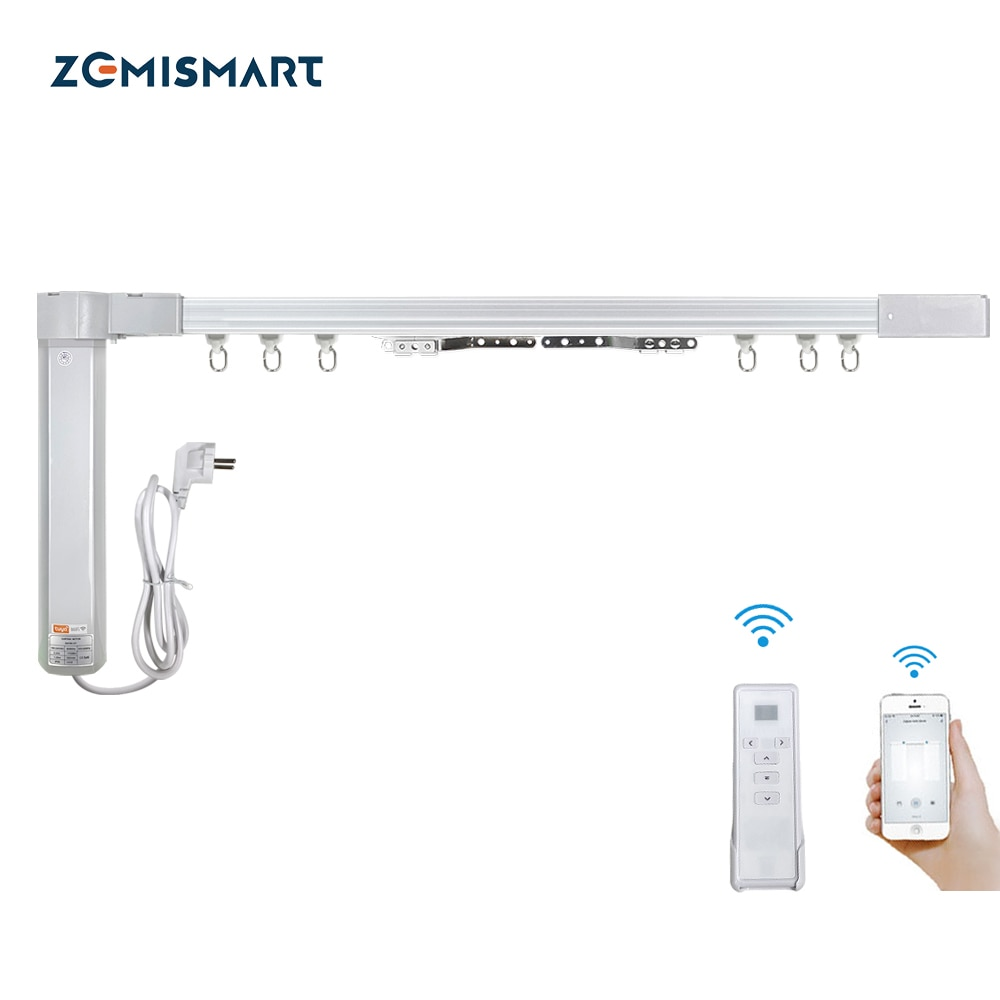 AliExpress - Zemismart New Design WiFi Curtain Motor Tuya Smart Life Customized Electric Curtains Track with RF Remote Alexa Echo Control