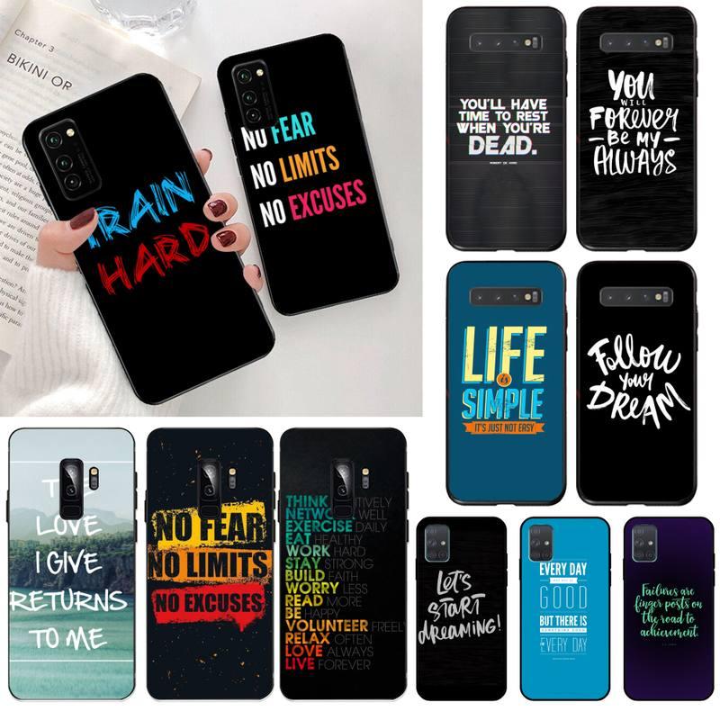 CUTEWANAN Inscription Quotes Motivation Phone Case Cover for Samsung S20 plus Ultra S6 S7 edge S8 S9 plus S10 5G lite 2020