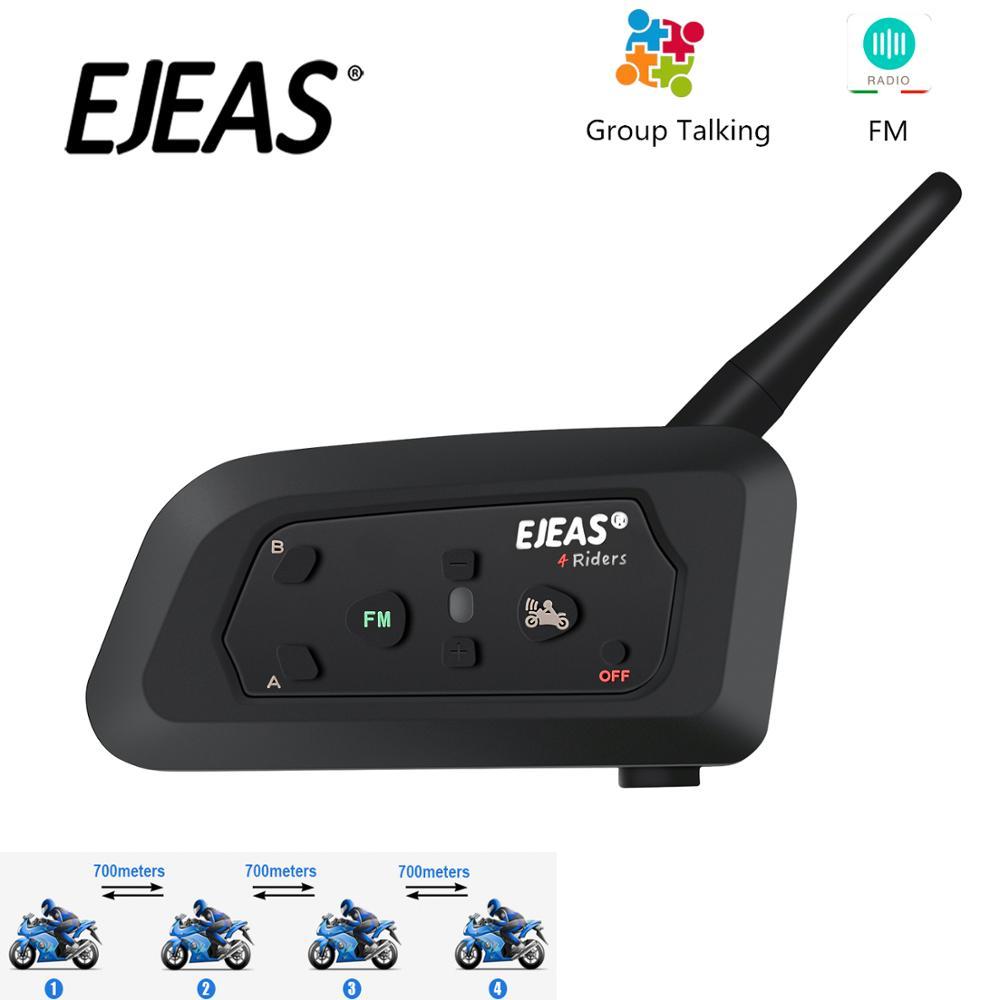 EJEAS V4 Pro Intercom Moto Helmet Bluetooth Headset 850mAh 4 People Cascos Inalambricos Speaker Waterproof FM Radio