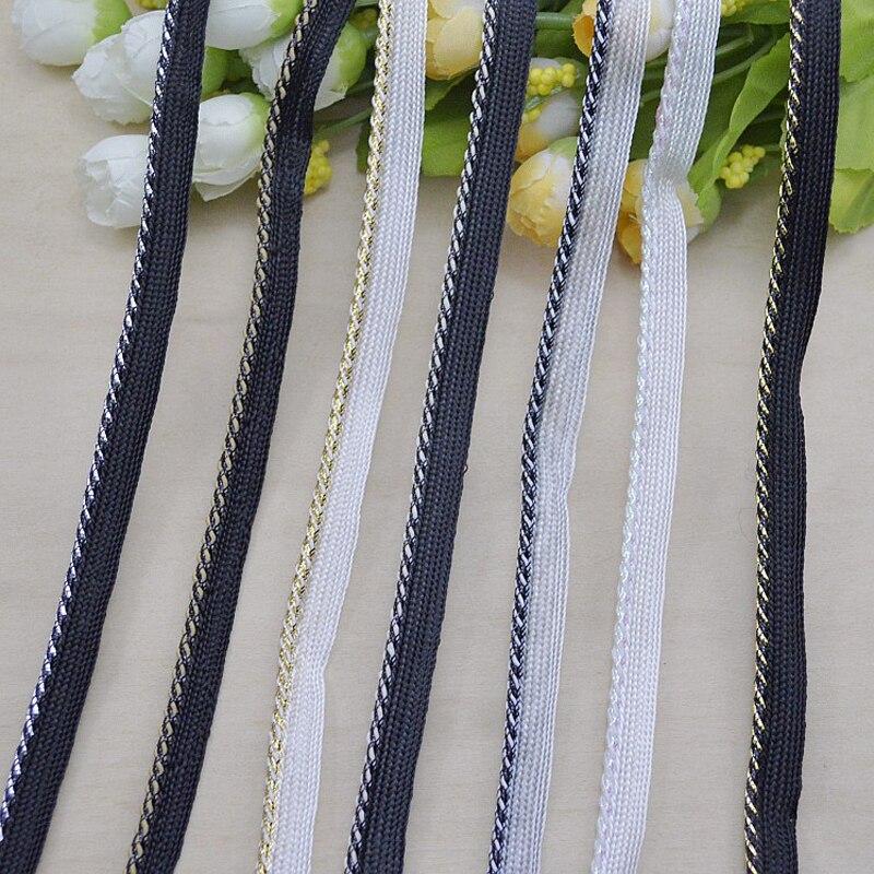 Cinta trenzada negra de 5 metros, cuerda de oro y plata, cojín de ajuste de encaje curvo, accesorios de ropa de costura