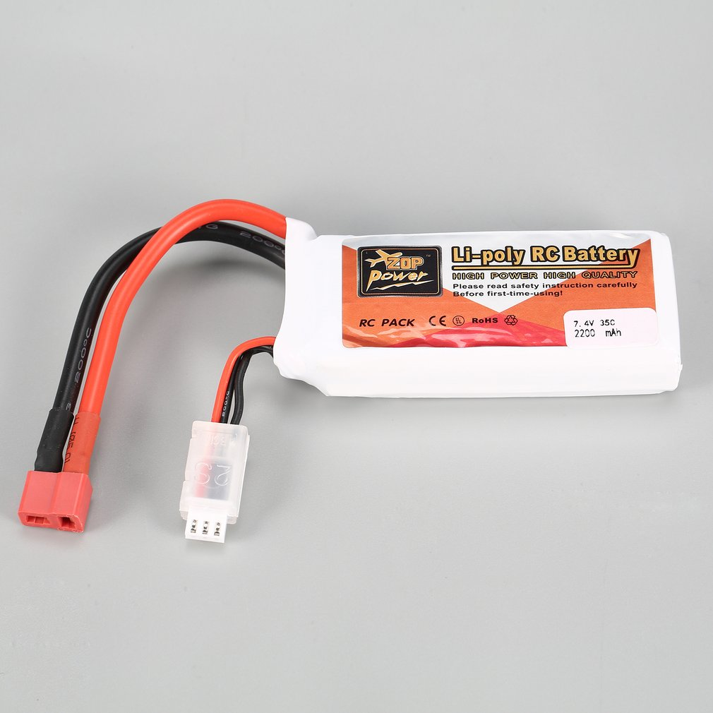 ZOP Power 7.4V 2200mAh 35C 2S 2S1P Lipo Battery T Plug Rechargeable For RC Racing Drone Helicopter Multicopter Car Model