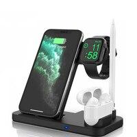Беспроводное зарядное устройство Qi для iPhone 11 12 XS Apple Watch, складная док-станция 4 в 1, 15 Вт, для Airpods Pro iWatch