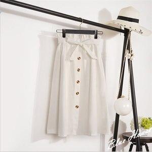 Женская однобортная юбка-трапеция, повседневная Элегантная универсальная свободная Однотонная юбка с высокой талией, весна-лето 2021