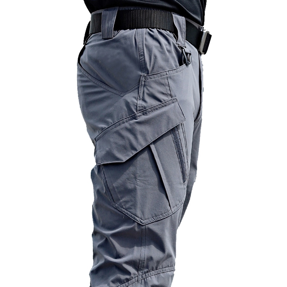 Men's tight military pants, new urban style, multi pocket, waterproof, elastic material, leisure, fashion, up to 5XL