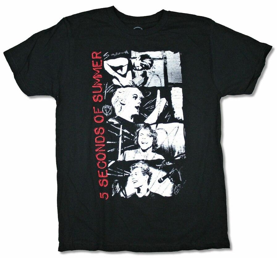5 Seconds Of Summer apilados fotos negro camiseta nueva 5Sos Merch Tops nueva Unisex divertida camiseta