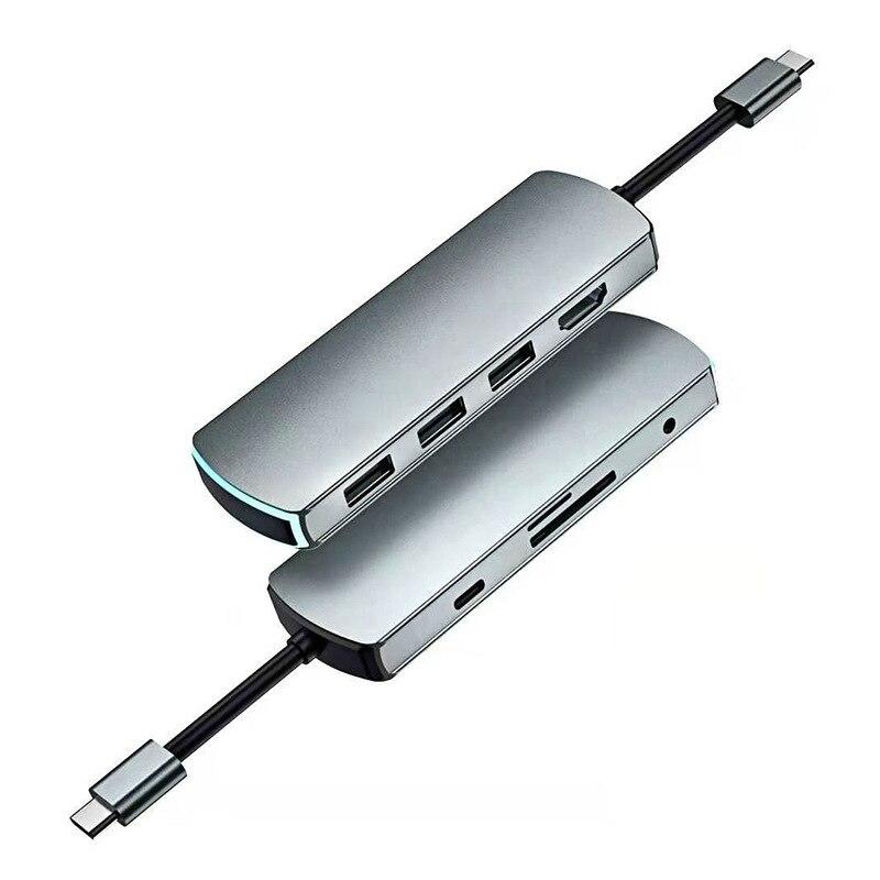 Adaptador portátil do cubo de usb c, 8 em 1 adaptador multiport com 3 portas usb 3.0 e leitor de cartão sd/tf jack de áudio e pd carregamento rápido