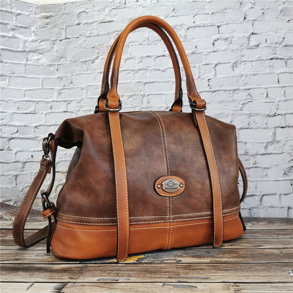 IMYOK Vintage Handbag New 2020 Leather Bags for Women Lady's Travel Totes Hand Bag Large Capacity Shoulder Designer Bolsa Femini