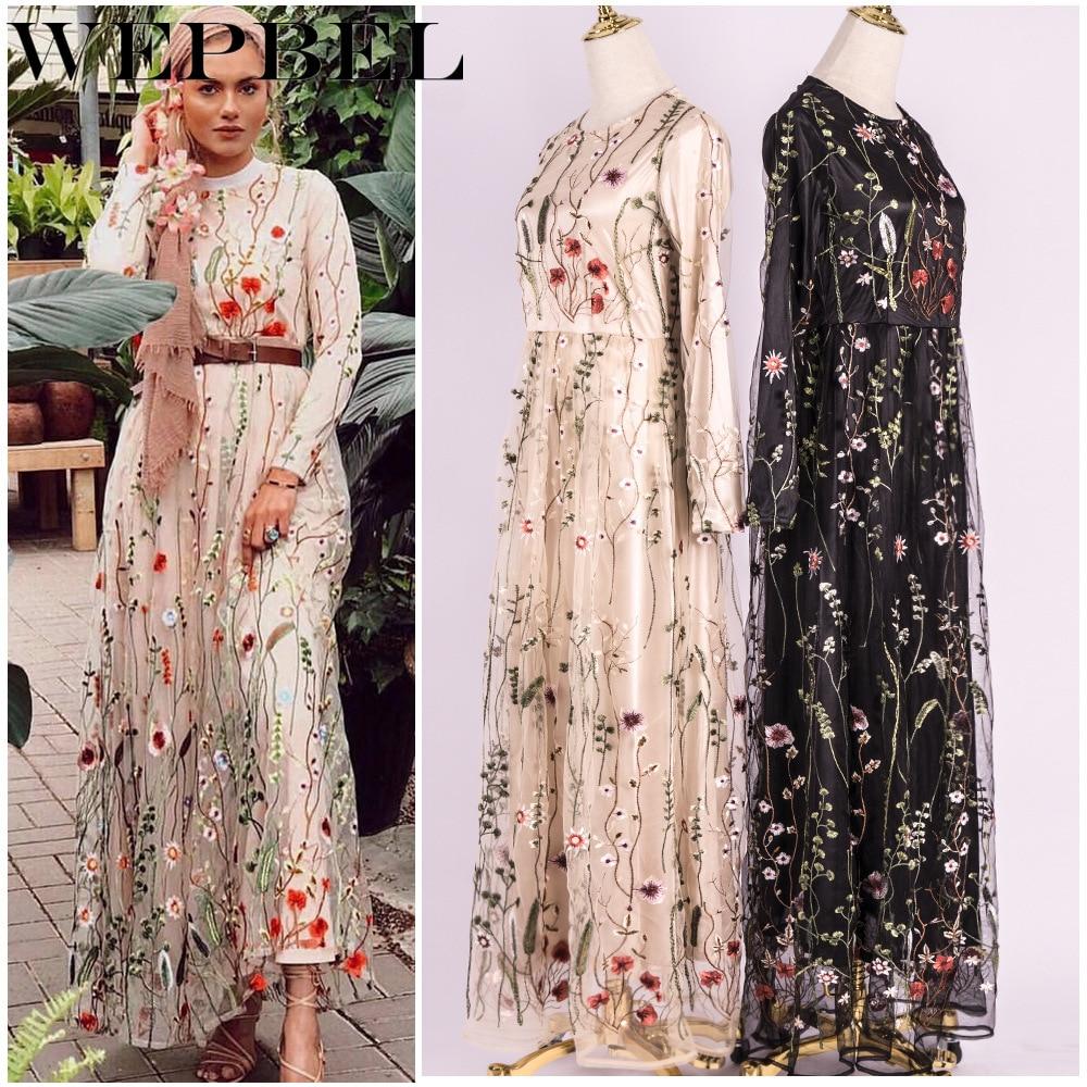 WEPBEL-فستان إسلامي مطرز بالزهور للنساء ، أكمام طويلة ، واسع ، خصر مرتفع ، ملابس إسلامية ، عباية رمضان
