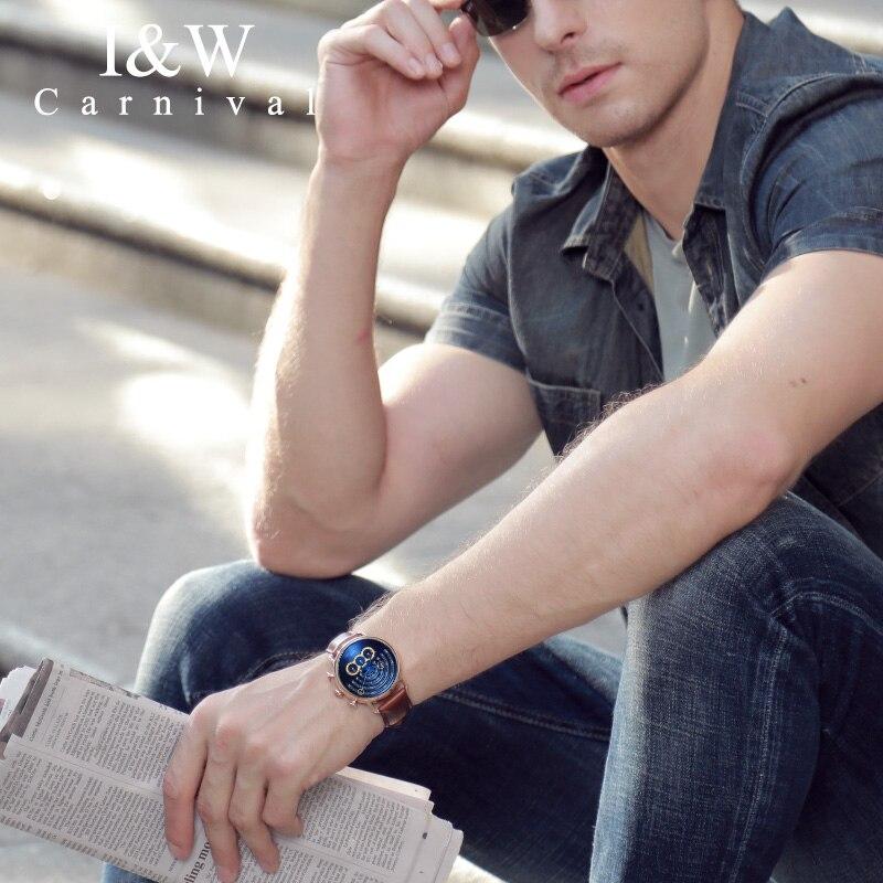 CARNIVAL Brand Fashion Watch Man Women Luxury Waterproof Gold Silver Chronograph Sport Quartz Wristwatch Clock Relogio Masculino enlarge