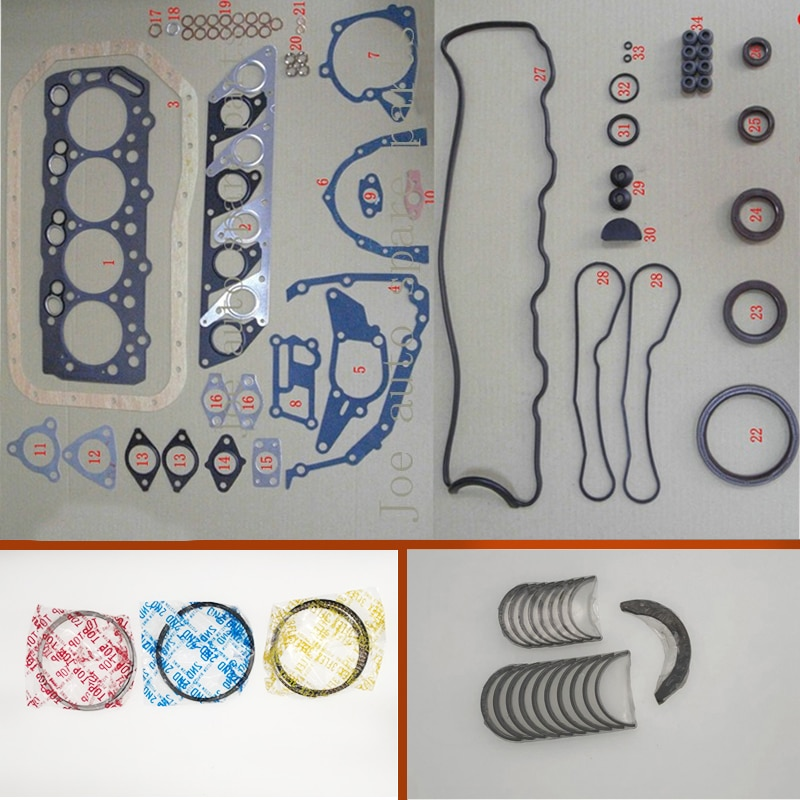 4D56 4D56T virabrequim biela rolamento Do Motor kit de Vedação Completa do anel de pistão para Mitsubishi Montero L200 L400 CANTER 2.5 TD
