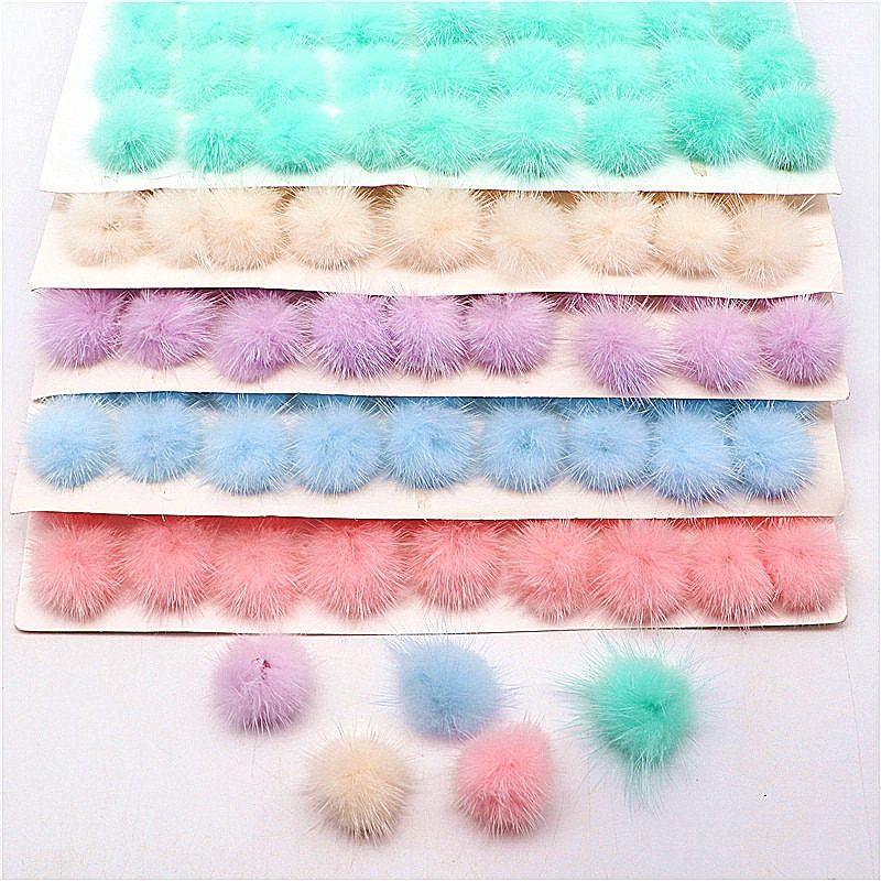 10pc/80pc 30mm Pompones Real Mink Fur Pom Poms Ball DIY Pompon for Jewelry Making Crafts Shoes Cloth