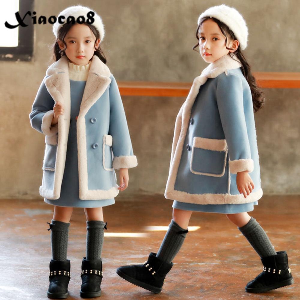 Casaco de inverno para meninas, jaqueta grossa de veludo para crianças