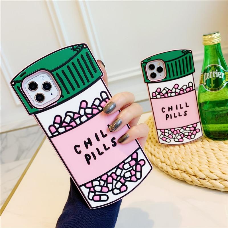 3D в виде банки с таблетками с надписью Chill Pills и Love Potion мягкий чехол для iPhone 12 11 Pro X XS Max XR/6/6S/8 7 плюс милые резиновые чехлы для мобильного телефона чехлы