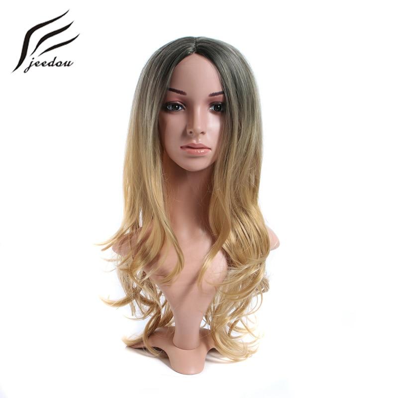 Jeedou طويل متموج شعر مستعار الاصطناعية الأسود براون أومبير اللون للنساء الفتاة الاستخدام اليومي خصلات الشعر المستعار