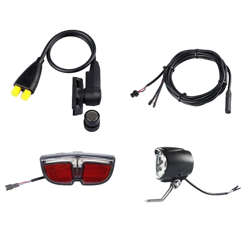 E-Bike Speed Sensor with Headlight Taillight and 1T2 Cable Kit for Tongsheng TSDZ2 Motor Electric Bicycle Accessories