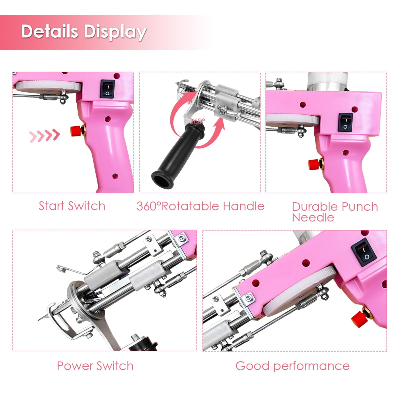 Pink 100-240V Electric Portable  Carpet Weaving Flocking Machine Cut Pile Adjustable Rug Carpet Tufting Gun Machine Cut Pile enlarge